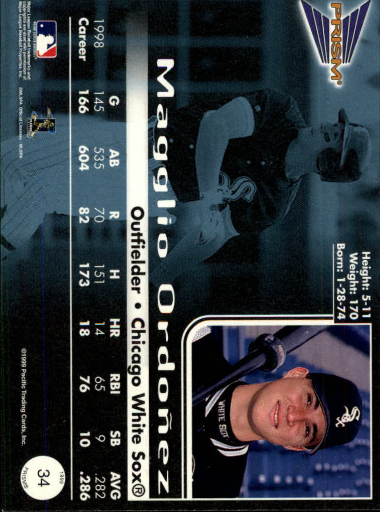 1999 Pacific Prism Holographic Purple #34 Magglio Ordonez back image