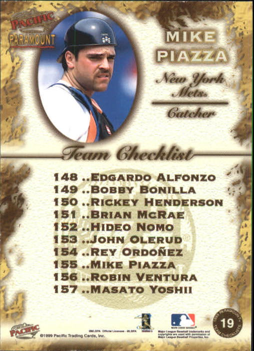 1999 Paramount Team Checklists #19 Mike Piazza back image