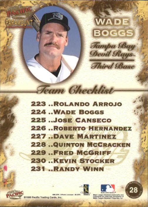1999 Paramount Team Checklists #28 Wade Boggs back image