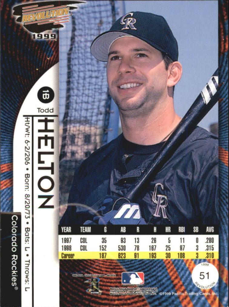 1999 Revolution #51 Todd Helton back image