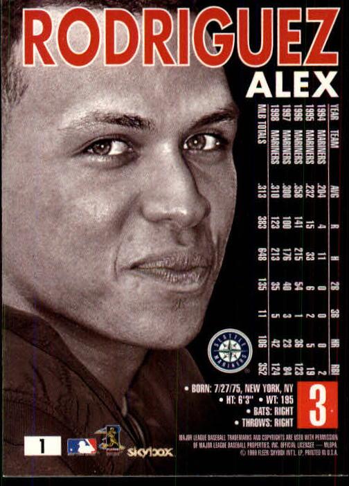 1999 SkyBox Premium #1 Alex Rodriguez back image