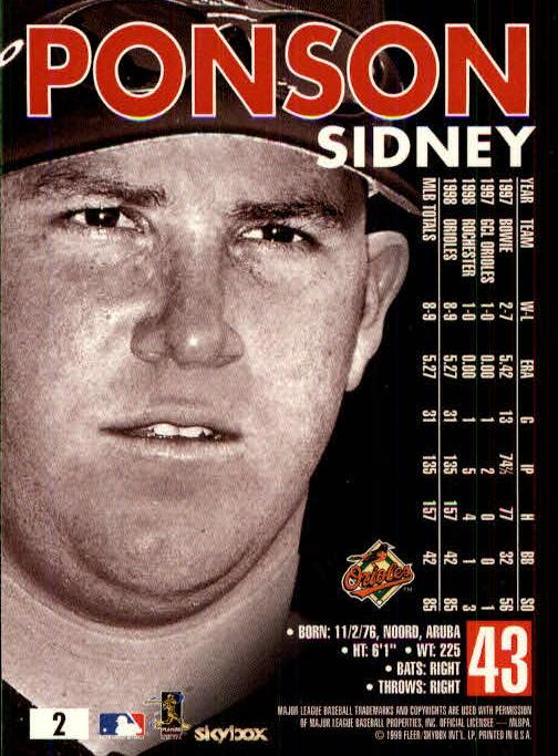1999 SkyBox Premium #2 Sidney Ponson back image