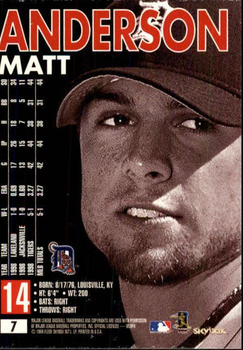 1999 SkyBox Premium #7 Matt Anderson back image