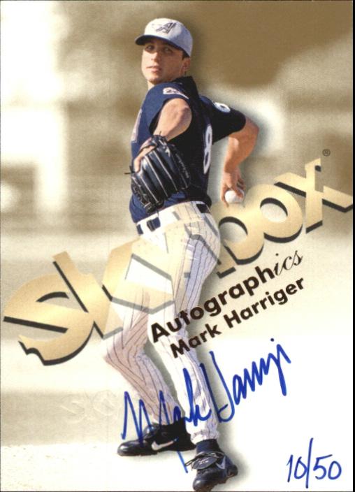 1999 SkyBox Premium Autographics Blue Ink #25 Mark Harriger