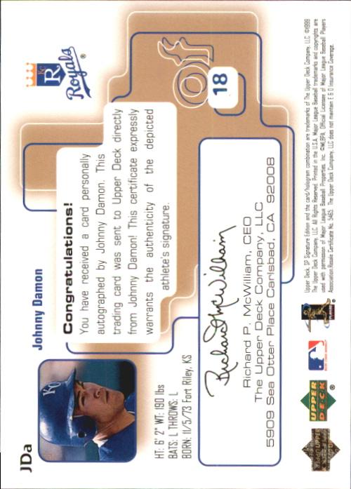 1999 SP Signature Autographs #JDA Johnny Damon back image