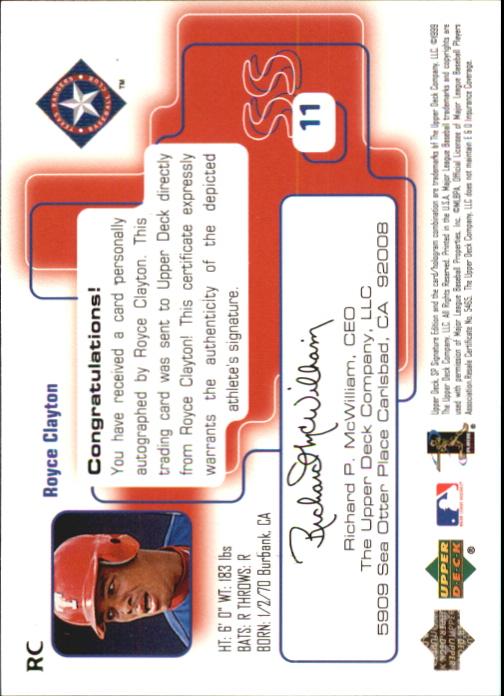 1999 SP Signature Autographs #RC Royce Clayton back image