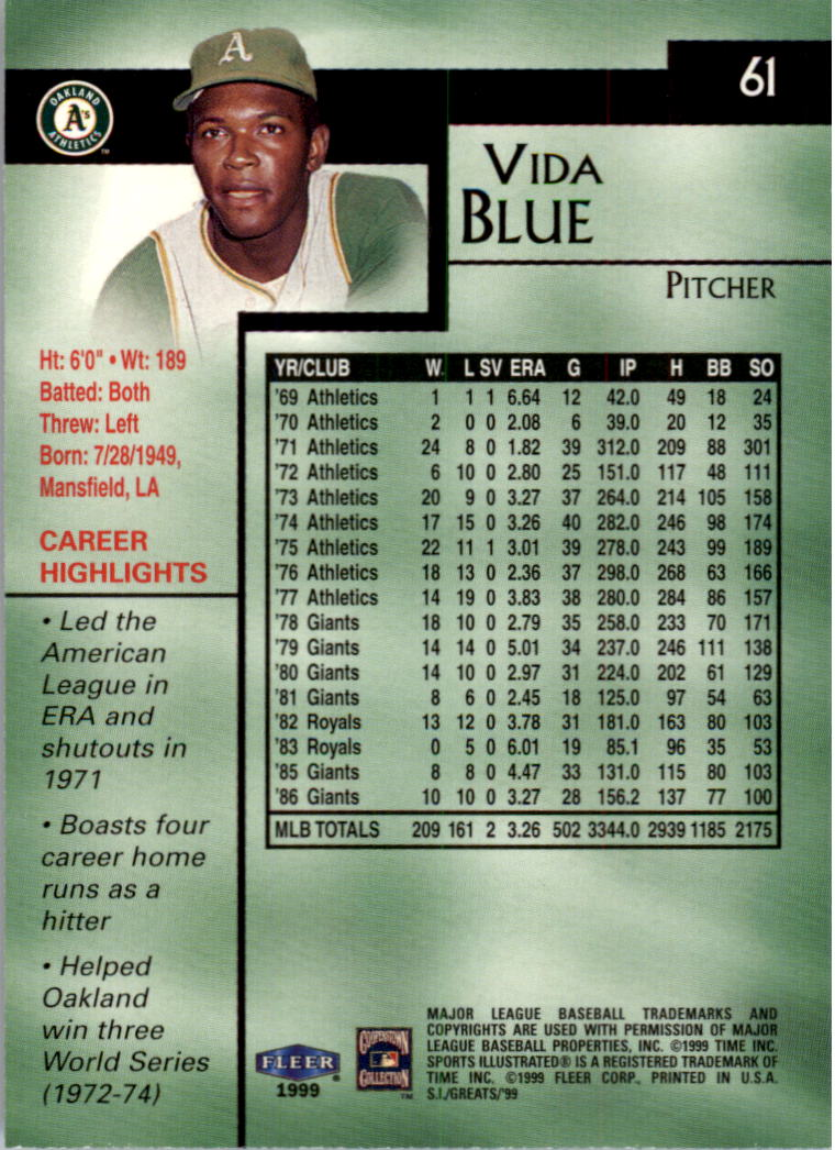 1999 Sports Illustrated Greats of the Game #61 Vida Blue back image