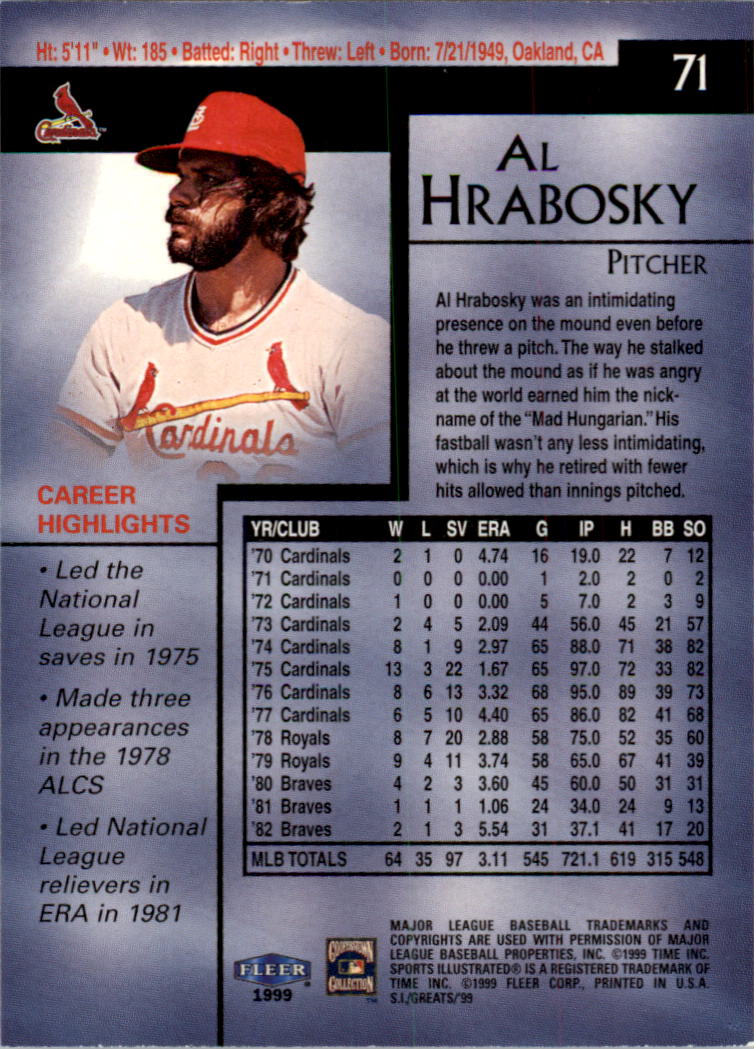 1999 Sports Illustrated Greats of the Game #71 Al Hrabosky back image