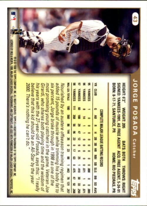1999 Topps #43 Jorge Posada back image