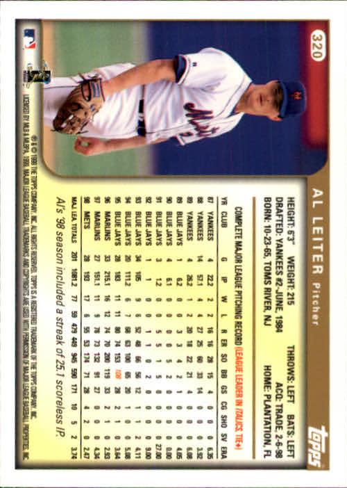 1999 Topps #320 Al Leiter back image
