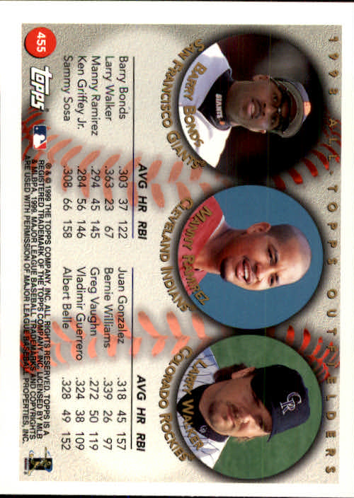 1999 Topps #455 Bonds/Ramirez/Walker AT back image