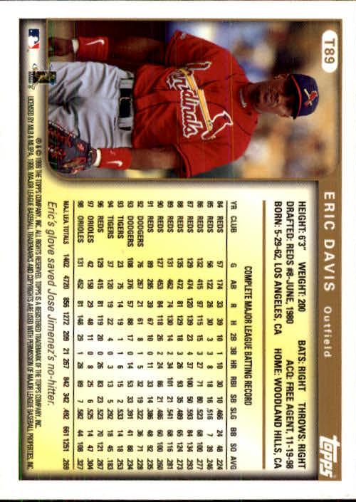 1999 Topps Traded #T89 Eric Davis back image