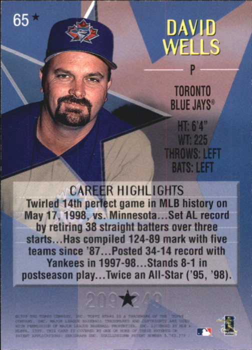 1999 Topps Stars One Star Foil #65 David Wells back image