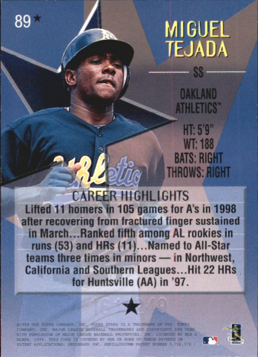 1999 Topps Stars One Star Foil #89 Miguel Tejada back image