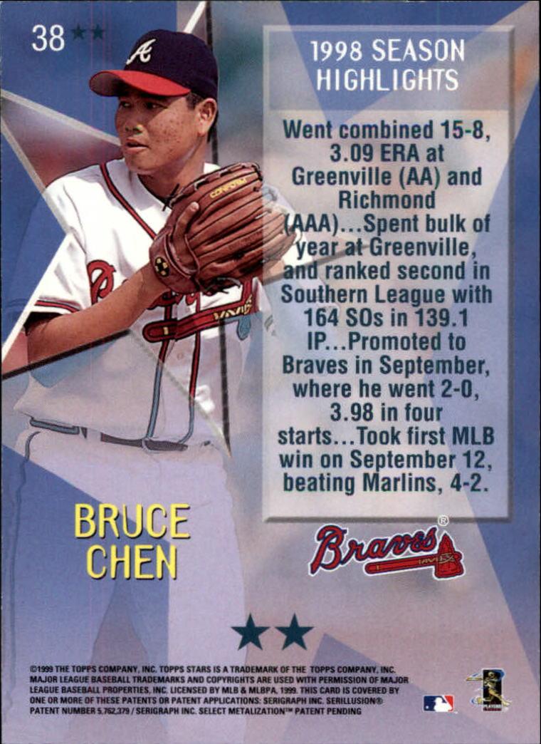 1999 Topps Stars Two Star #38 Bruce Chen back image