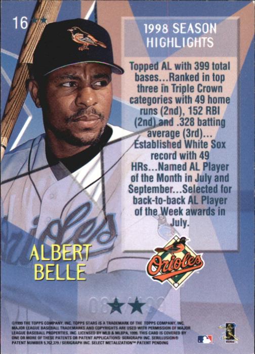 1999 Topps Stars Two Star Foil #16 Albert Belle back image
