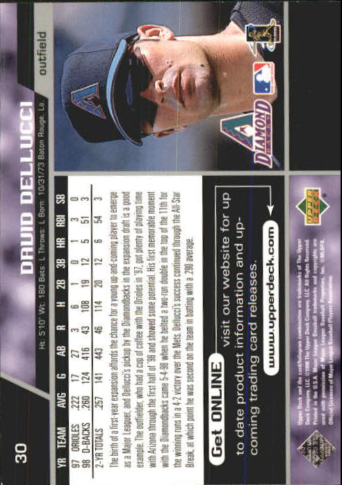 1999 Upper Deck #30 David Dellucci back image