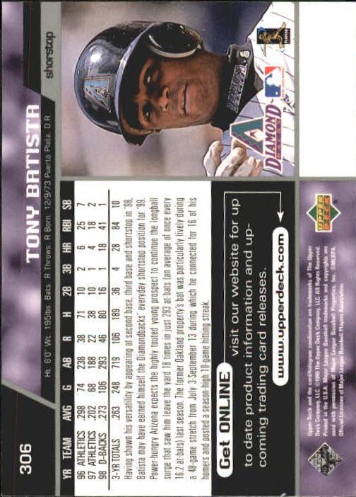 1999 Upper Deck #306 Tony Batista back image