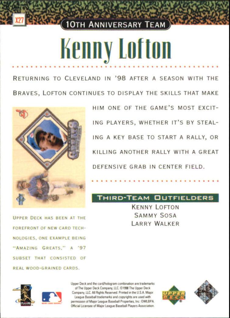 1999 Upper Deck 10th Anniversary Team #X27 Kenny Lofton back image