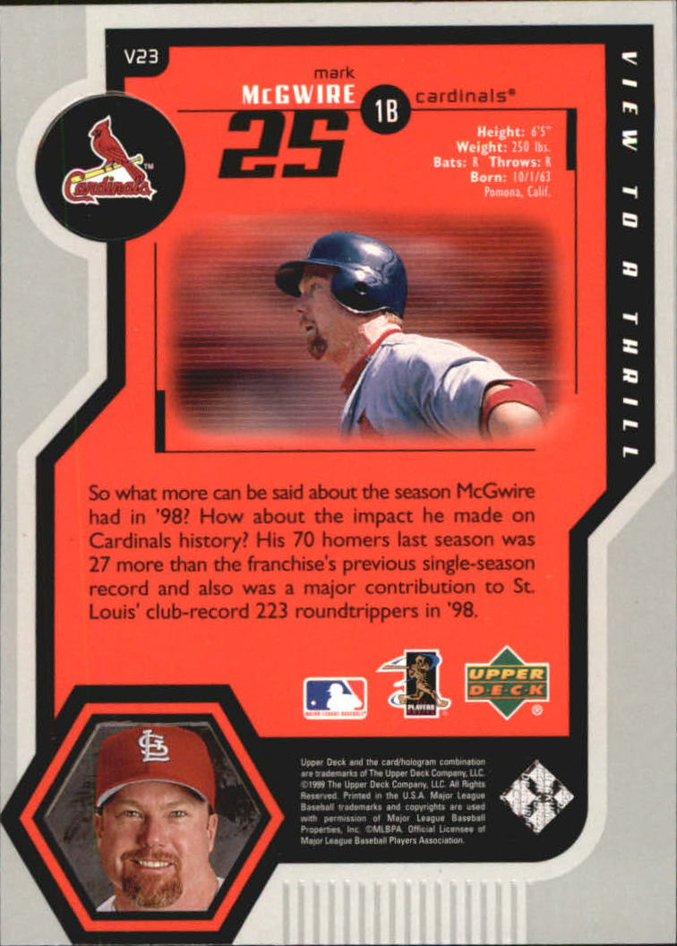 1999 Upper Deck View to a Thrill #V23 Mark McGwire back image