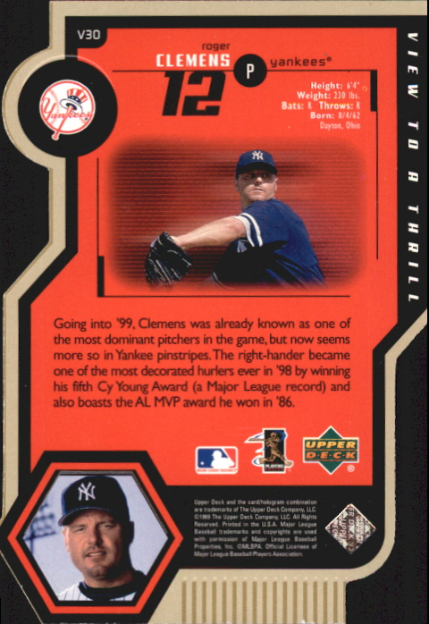 1999 Upper Deck View to a Thrill Triple #V30 Roger Clemens back image