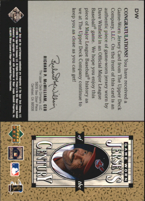 1999 Upper Deck Century Legends Jerseys of the Century #DW Dave Winfield back image