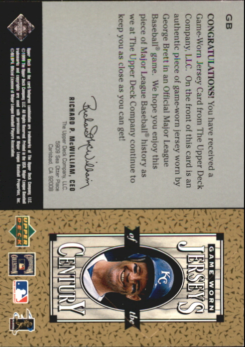 1999 Upper Deck Century Legends Jerseys of the Century #GB George Brett back image