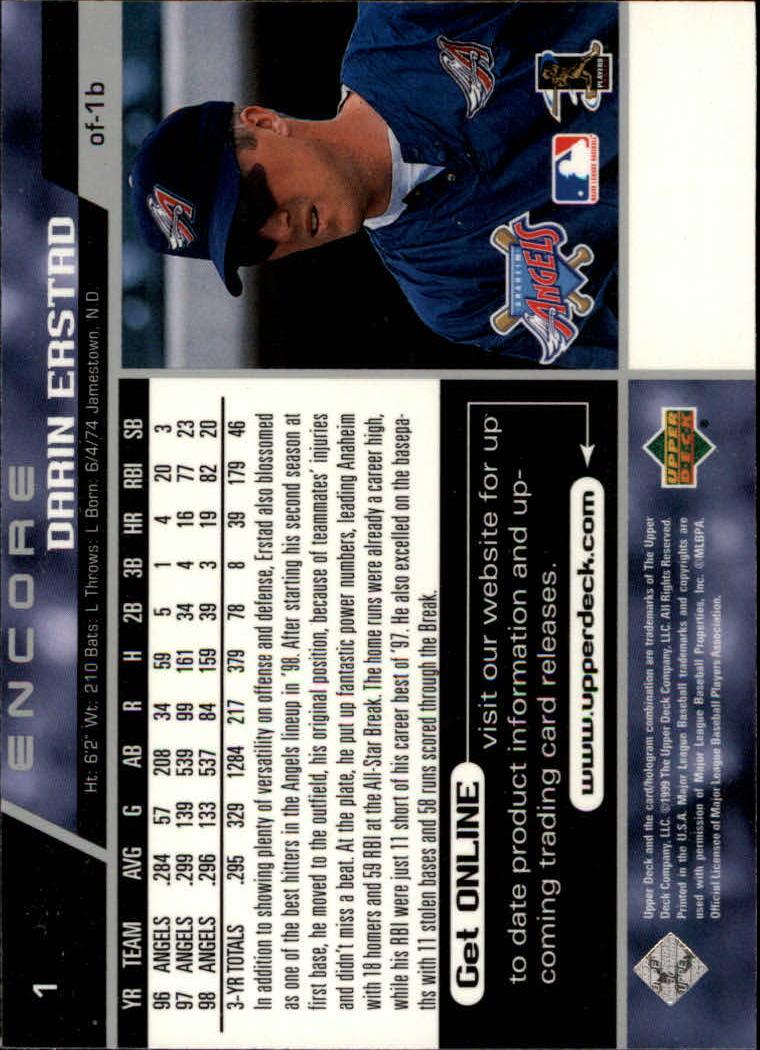 1999 Upper Deck Encore #1 Darin Erstad back image