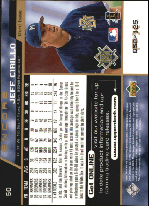 1999 Upper Deck Encore FX Gold #50 Jeff Cirillo back image
