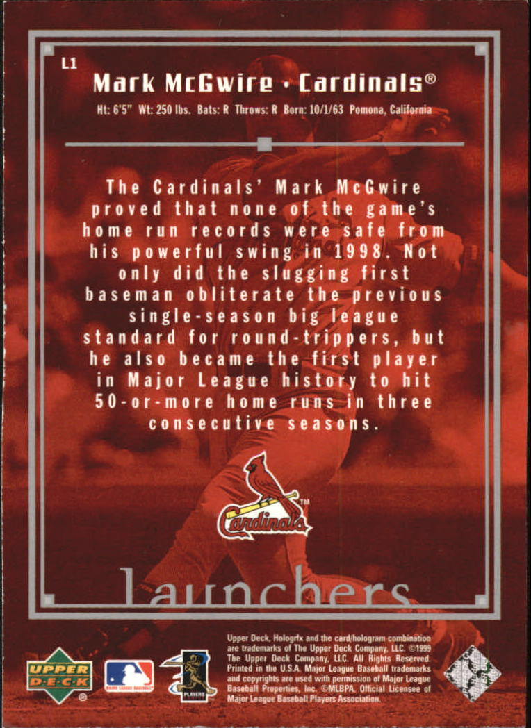 1999 Upper Deck HoloGrFX Launchers #L1 Mark McGwire back image