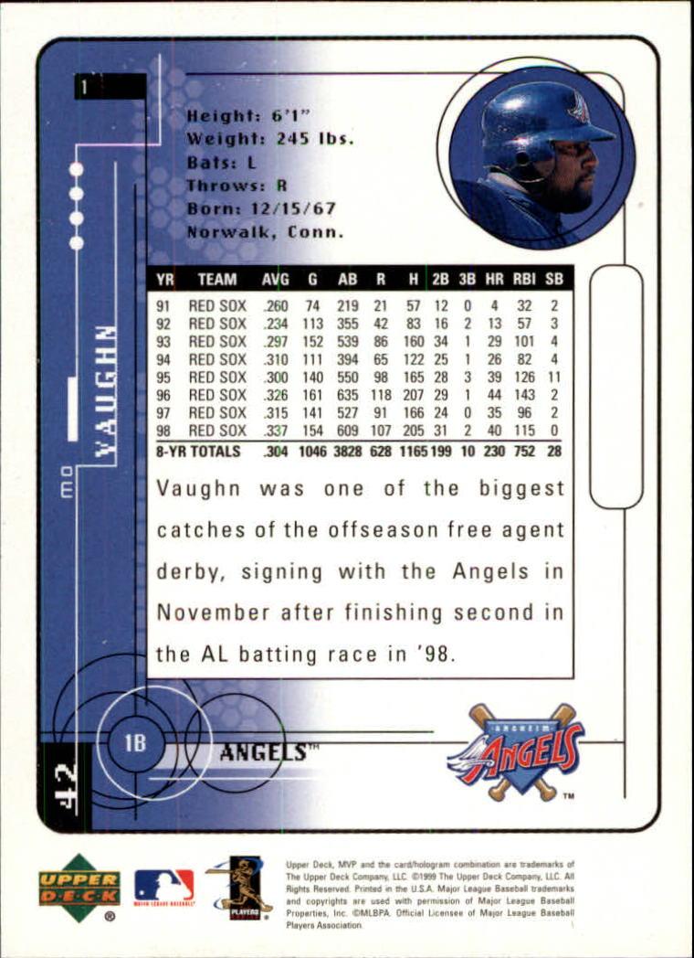 1999 Upper Deck MVP #1 Mo Vaughn back image