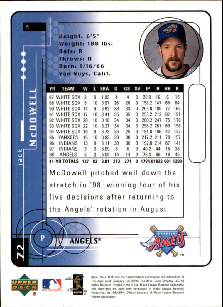 1999 Upper Deck MVP #3 Jack McDowell back image