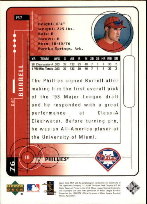 1999 Upper Deck MVP #157 Pat Burrell RC back image