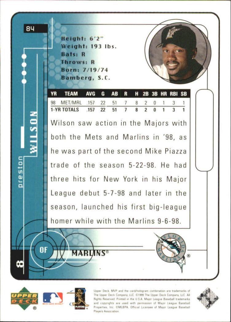 1999 Upper Deck MVP Silver Script #84 Preston Wilson back image