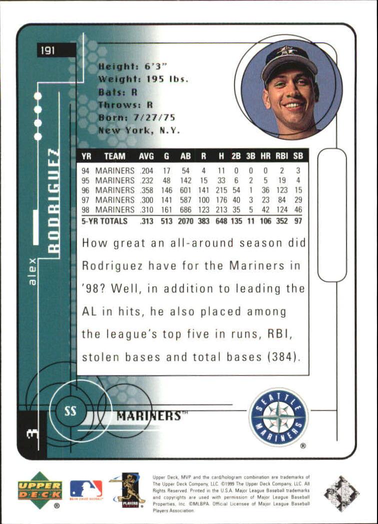 1999 Upper Deck MVP Silver Script #191 Alex Rodriguez back image