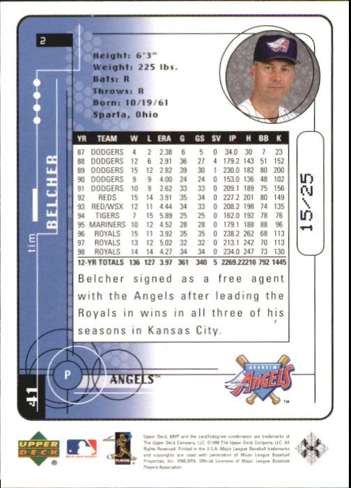 1999 Upper Deck MVP Super Script #2 Tim Belcher back image