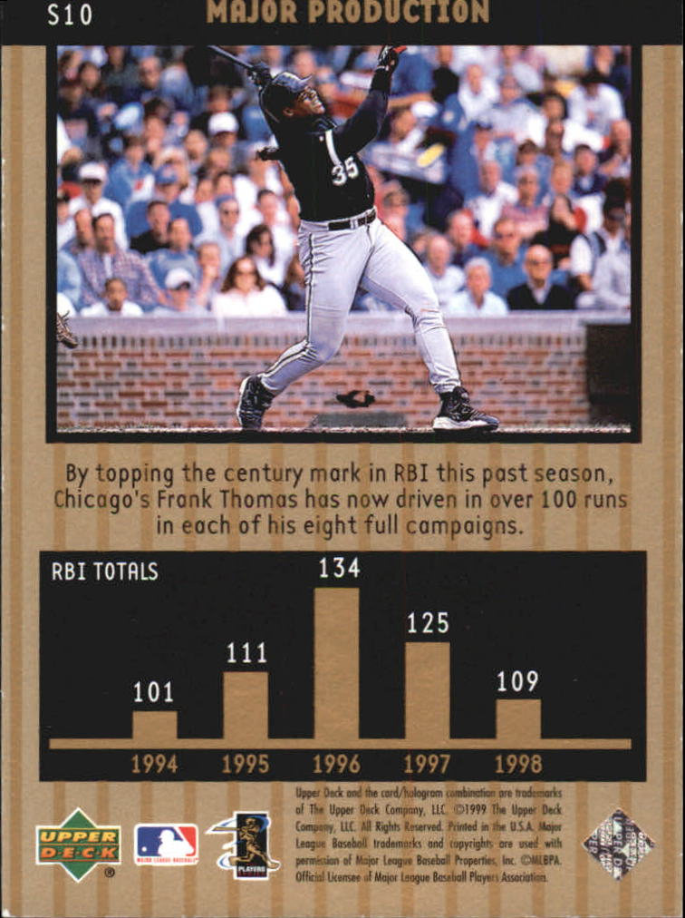 1999 Upper Deck Ovation Major Production #S10 Frank Thomas back image