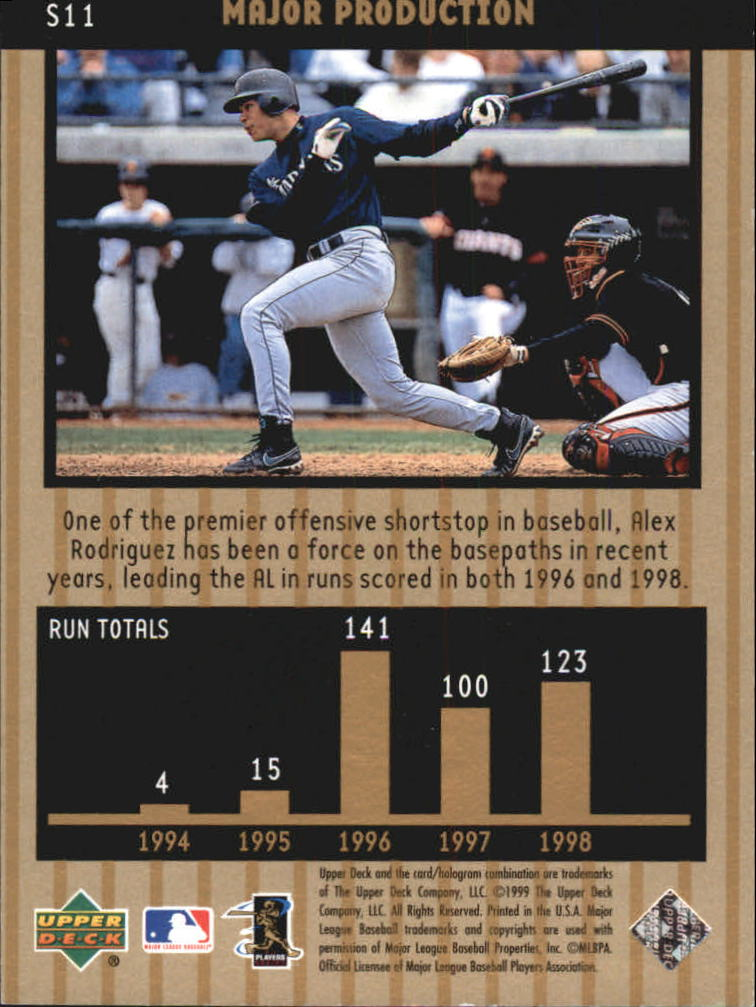 1999 Upper Deck Ovation Major Production #S11 Alex Rodriguez back image