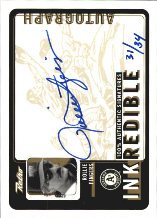 1999 Upper Deck Retro Inkredible Level 2 #RF Rollie Fingers/34