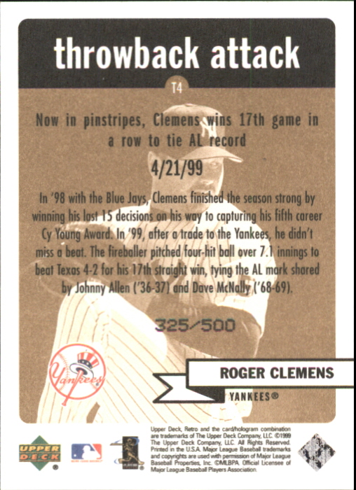 1999 Upper Deck Retro Throwback Attack Level 2 #T4 Roger Clemens back image