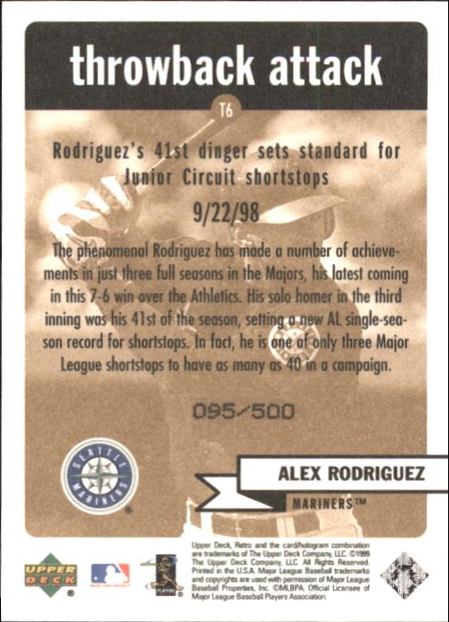1999 Upper Deck Retro Throwback Attack Level 2 #T6 Alex Rodriguez back image