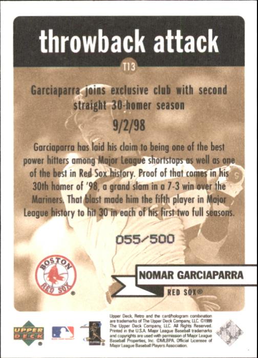 1999 Upper Deck Retro Throwback Attack Level 2 #T13 Nomar Garciaparra back image