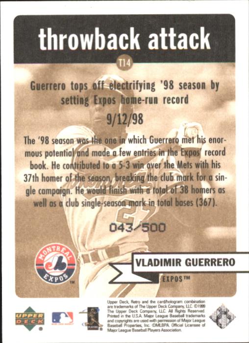 1999 Upper Deck Retro Throwback Attack Level 2 #T14 Vladimir Guerrero back image