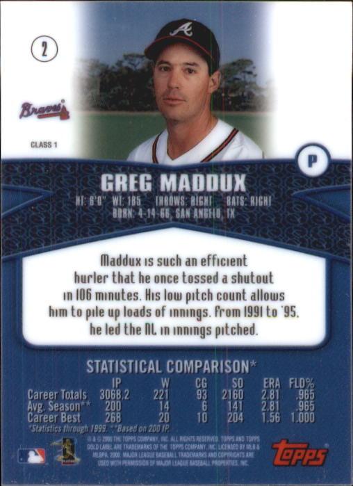 2000 Topps Gold Label Class 1 #2 Greg Maddux back image