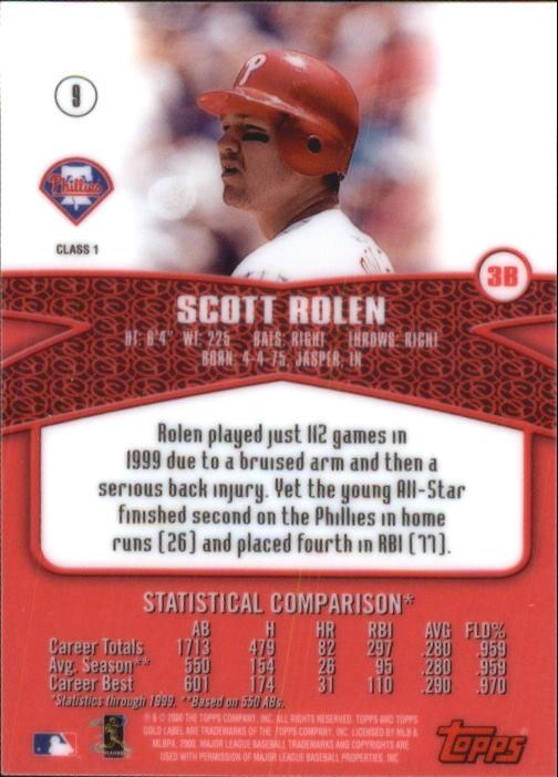 2000 Topps Gold Label Class 1 #9 Scott Rolen back image