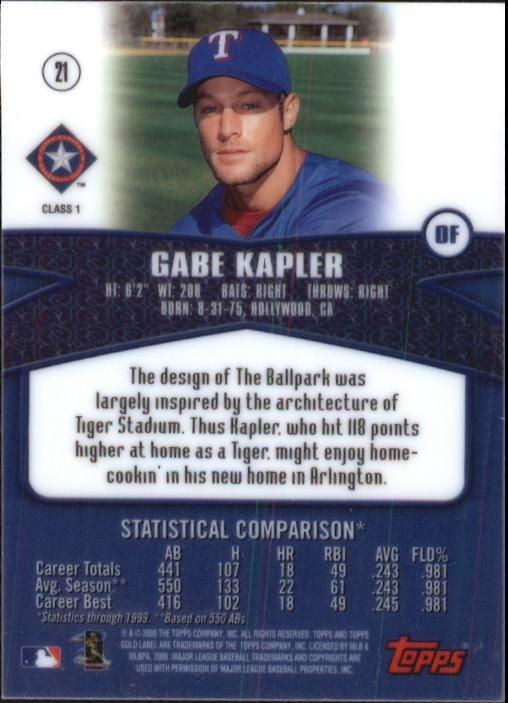 2000 Topps Gold Label Class 1 #21 Gabe Kapler back image