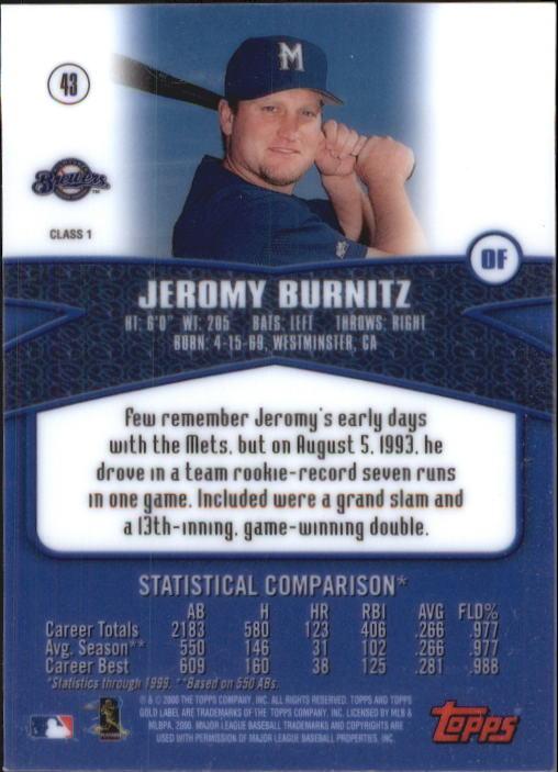 2000 Topps Gold Label Class 1 #43 Jeromy Burnitz back image