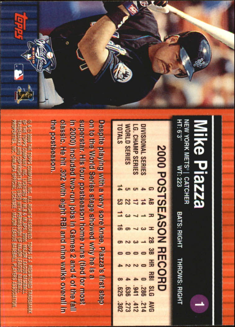 2000 Topps Subway Series #1 Mike Piazza back image