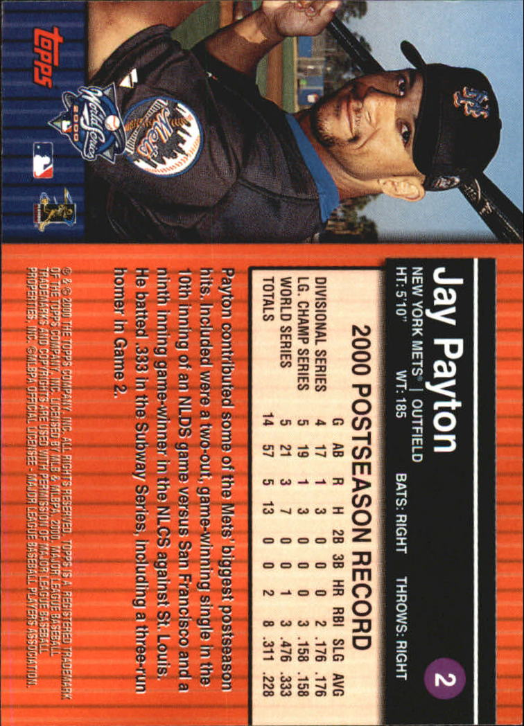 2000 Topps Subway Series #2 Jay Payton back image