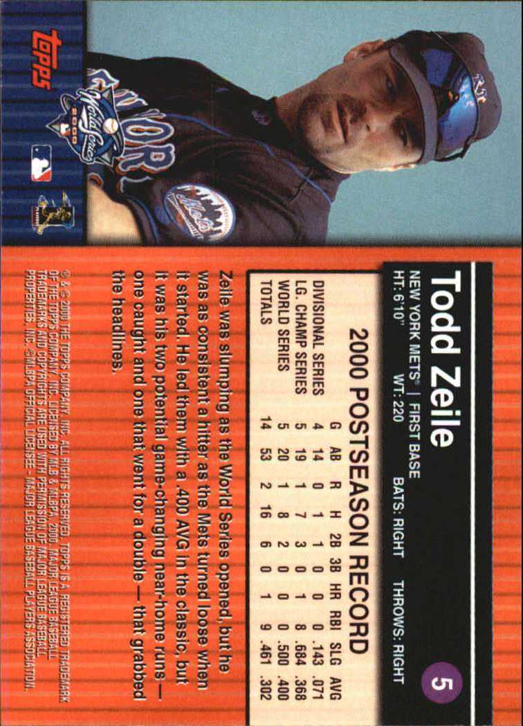 2000 Topps Subway Series #5 Todd Zeile back image